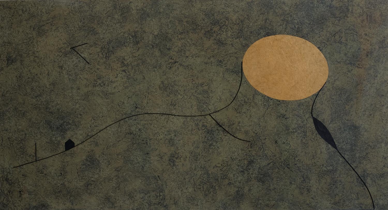 """Flavio Paolucci, """"L'albero è stato tagliato, ma le sue radici sono rimaste"""", 2012, bois, ficelle, acrylique sur papier, 106x186 cm © S. Beretta"""